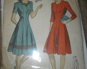 1940's DuBarry Perfect Pattern, Dress Pattern Size 12, Pattern #5348, Easily Made,