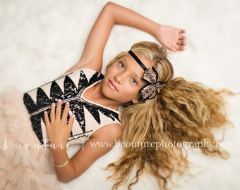 Black and Rose Gold Beaded Sequin Headband