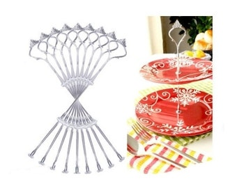 10 x Sets 2 or 3 Tier Cake Plate Stand Fittings Silver Plate Stands [1542]