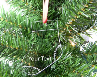 Personalized Custom Text Clear Acrylic Stocking Christmas Tree Ornament with Red Ribbon