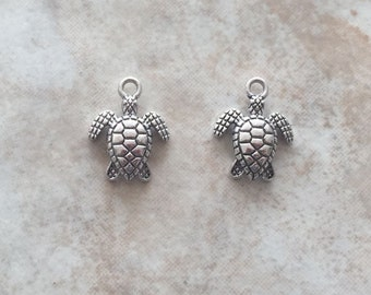 16x13x3mm Alloy Metal Tortoise Charm in Antique Silver Color (ch24)