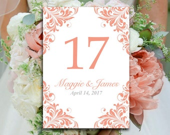 "DIY Wedding Table Number Template - Coral Table Number - Microsoft Word Template ""Maggie""  Shabby Chic Wedding Table Number"