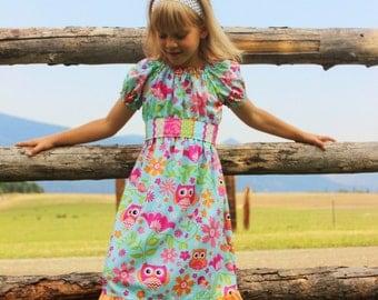 Owl Peasant Dress