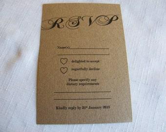 Vintage Wedding RSVP A6 Card - Personalised Brown Kraft