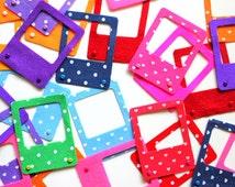 Funky Scrapbook Embellishments - 6 FELT POLAROID FRAMES - Cute Scrapbooking Embellishment, Invitation Making, Die Cut Felt Shapes, Kawaii