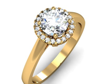 10K Yellow Gold Round Cut Diamond Engagement Ring 0.75ct. tw.
