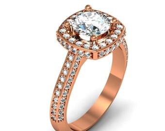 18K Rose Gold Cushion-Cut Diamond Engagement Ring 1.15ct.tw.