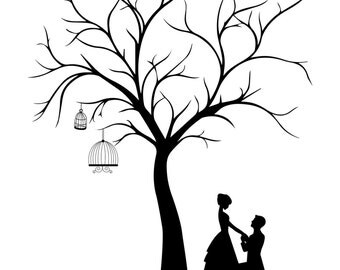 Canvas wedding tree guest book hand drawn fingerprint tree for Wedding tree guest book free template