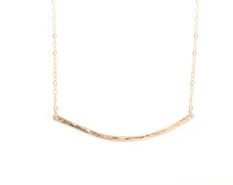 Hammered Crescent / Crescent bar necklace / Mother's Day Necklace