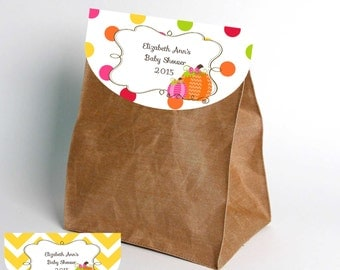 Pretty Little Pumpkin-Party Favor Bag Tops-INSTANT DOWNLOAD-Party-Party Supplies-Birthday-Birthday Party Decor-Favors