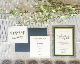 5x7 Silver & Grey Metallic Back Pocket Wedding Invitation with Lime Green, Navy Layers, Inserts and Navy Envelope. Different Color Options