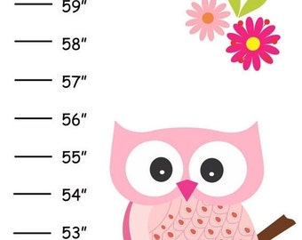 ON SALE Personalized Pretty Pink Owls Canvas Growth Chart