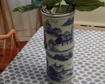 "Oversize blue and white Chinoiserie ""bamboo"" vase"