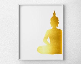 Buddha Wall Art, Buddha Poster, Buddha Print, Faux Gold Foil, Gold Art, Gold Foil Print, Buddha Decor, Buddha Art, Gold Buddha Print, 0421