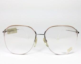 Vintage 1980s Glasses | Round Eyeglass Frame with Demo Lenses | 80s NOS Pink and White Ultralight Eyeglasses - UFO 3511