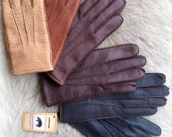 Women's Peccary Leather Gloves Super soft Peccary Pig skin with cashmere lining