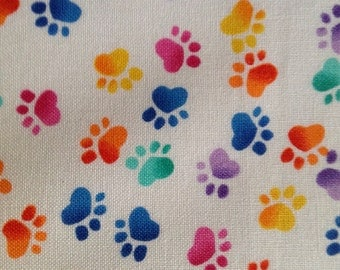 One Half Yard Piece of Fabric Material -  Rainbow Paw Prints