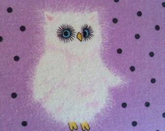 Half Yard Fabric Material - Fuzzy Owls on Lavender FLANNEL