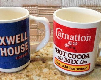 Vintage Maxwell House and Carnation Hot Cocoa Mix Mugs - Fun Collectibles!!