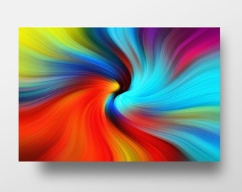 Modern Abstract Metal Art Print, Modern Metal Art Print, Aluminum Abstract Wall Decor, Colorbul Abstract Art – Twisted Rainbow