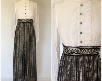 Vintage 60s 70s Maxi Dress White Black Silver Metallic Sheer Sleeves Mod Evening