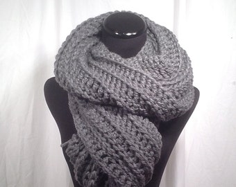 Dark Gray Ribbed Oversize Crochet Scarf with Fringe