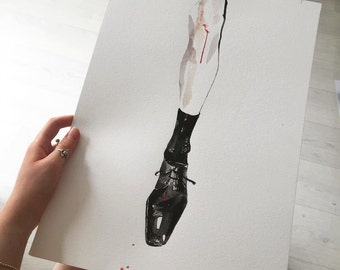 Knee bleed, watercolor print