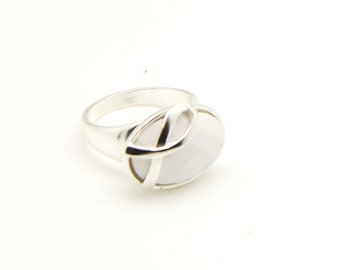 Cancer Awareness Ring White R10484 Lung Cancer