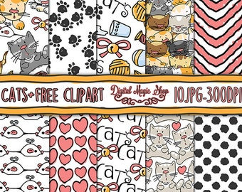 Cat Digital Paper, Seamless Patterns- 10pcs 300dpi, Free Clip art (paper crafts, card making, scrapbooking) Commercial use