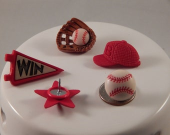 Baseball thumbtack set in red or blue; sports corkboard pushpin accessory; back to school gift for teacher or college student; home office