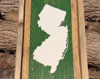 New Jersey silhoute painting on reclaimed wood