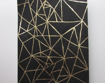 """Geometric Abstract Original Painting with Gouache and Gold Leaf on 8"""" x 10""""  Watercolor Paper"""