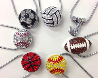 Rhinestone sports necklace / baseball/football/softball/basketball/volleyball/cheerleader soccer necklace / team jewelry / gift for her /