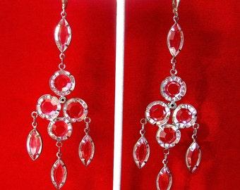 Pair of 3 3/4- Inch Chrystal Chandelier Earrings