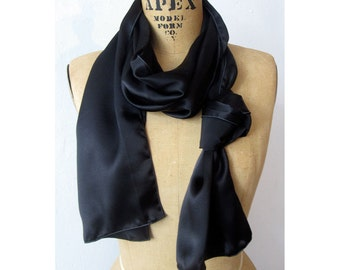 Black Aviator Scarf -Silk Scarf For Men - 100% Silk Charmeuse -medium - Le Beau Cou Scarves