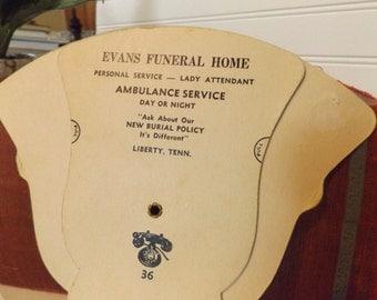 Vintage Advertising Fan Folding Fan Evans Funeral Home Liberty Tennessee