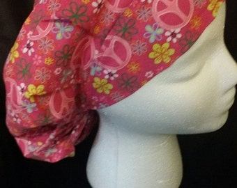 Pink Peace Love and Flowers Bouffant Style Surgical Scrub Hat
