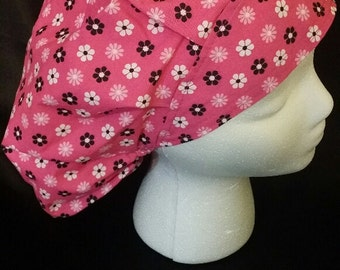 Flowers of Pink and Black Bouffant Surgical Scrub Hat