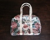 Vintage 90s Bag - Floral Travel Duffel - Large Fabric Bag - Off-White Ivory Weekender Tote