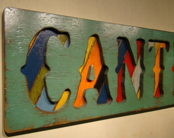 Cantina Rustic Sign, Vintage Sign, Mexican Cantina, Spanish, Welcome To The Bar, Turquoise Cantina Sign