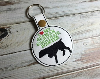 I Love My German Shorthair Pointer - Dog In The Hoop - Snap/Rivet Key Fob - DIGITAL Embroidery Design