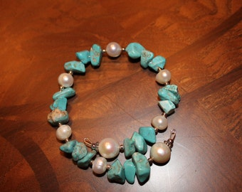 Turquoise and Pearl wrap bracelet