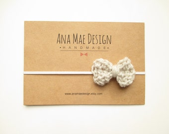 Linen Bow Headband Gifts for her crocheted bow newborn yarn bow crochet baby bow crochet headband mini bow mini bow clips knit bow linen bow