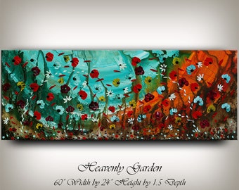 Large OIL PAINTING Wall Art, Flower Canvas Art, Home Wall Decor, Original Flower Painting, Turquoise Home & Living, Office Art by Nandita