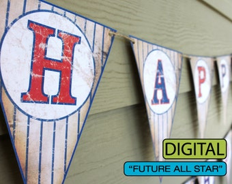 "Vintage Baseball Baby Shower Banner ""Future All Star"" Sign"