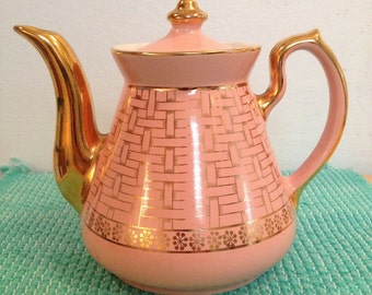 Hall Teapot Philadelphia Gold Label with Pink Basket Weave Vintage