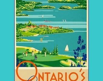 "Ontario Canada Lakeland 11 X 14""  canvas art print  travel tourism resorts"
