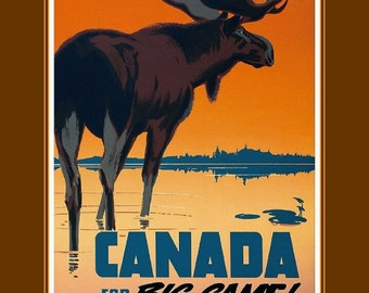 """Canada-for-big-game-travel-Canadian-Pacific  11 X 14""""  canvas art print"""