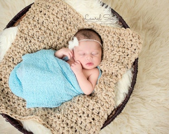 Crochet Baby Mini Blanket Photo Prop Thick N Chunky In Tan Fleck