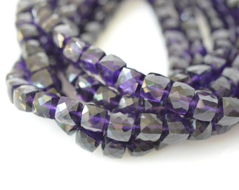Amethyst Cube Beads Faceted Amethyst 5mm to 6mm Your Choice 2, 4, 6, 8, or 10 Gems,  Purple Grape Gemstone Beads February Birthstone CB